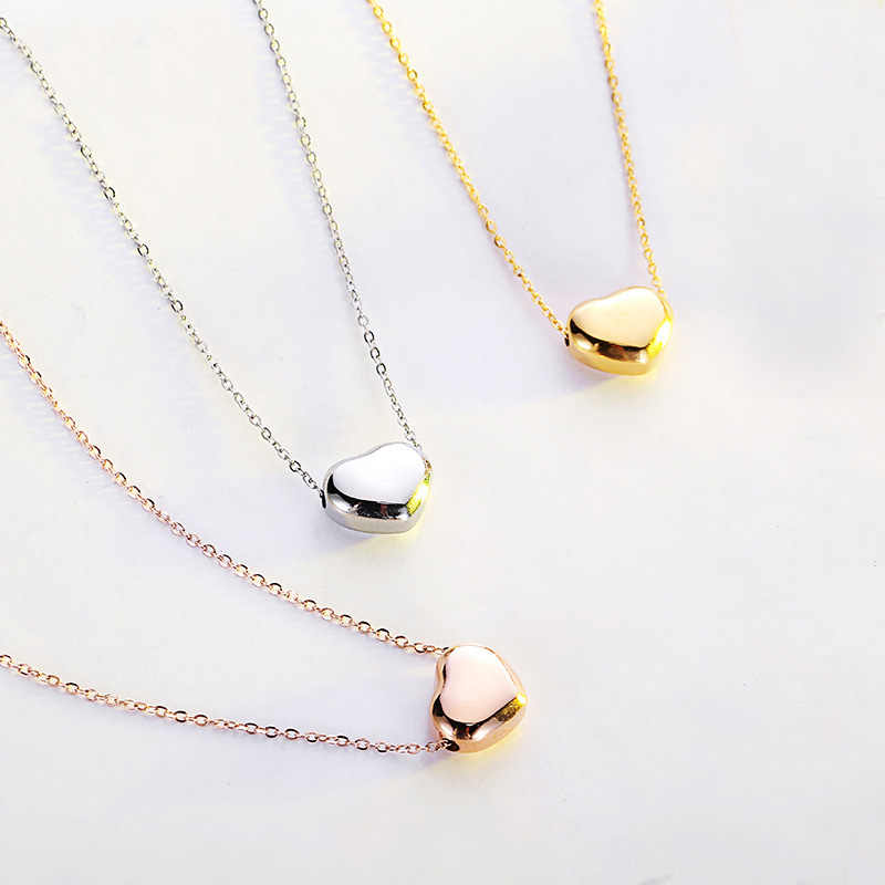Brand Heart Shaped Pendant Necklace Stainless Steel Fashion Love Tiff Gold Color Choker Short Necklace For Women