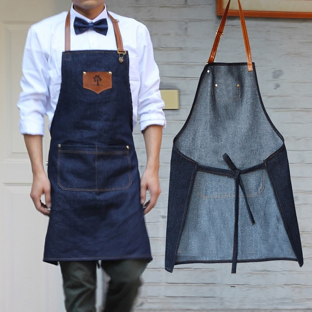 NEW Simple Antifouling Kitchen Apron Women And Men Delantal Chef Work  Pinafore Denim Sleeveless Avental Coffee