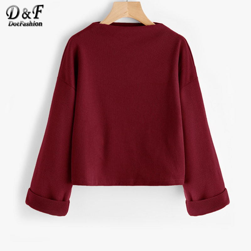 Dotfashion Drop Shoulder <font><b>Ribbed</b></font> Cuffed <font><b>Sweatshirt</b></font> Autumn High Neck <font><b>Long</b></font> <font><b>Sleeve</b></font> Woman Pullovers 2017 <font><b>Burgundy</b></font> <font><b>Sweatshirts</b></font>