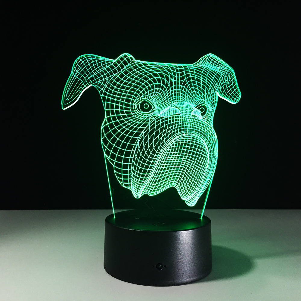 Dog 3D Table Lamp 7 Color Changing Animal 3D Night Light For Baby Sleeping Nightlight Home Decor Xmas Gifts