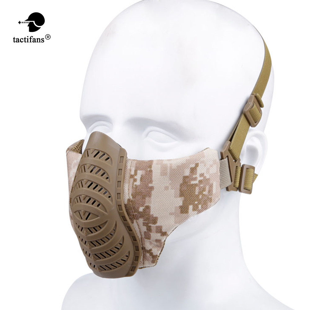 Shooting High Quality 1000d Nylon Military Half Face Protective Tactical Mask Shooting Airsoft Mask Hunting Cs Paintball Accessories
