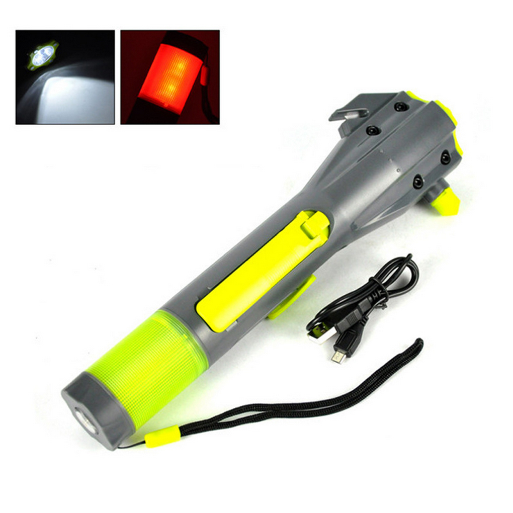Crank Dynamo Flashlight Car Emergency Hammer Compass Magnet Safety Lamp Mobile Power for Travel Camping Hiking