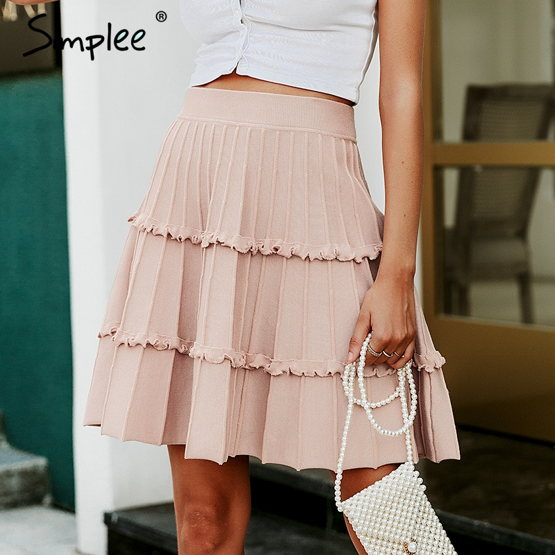 Simplee Elegant knitted skirt womens High waist A line ruffle stripe skirt female Autumn winter sweet pink ladies skirts 2019