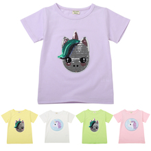 Kids Girl T Shirt Children Sequins Unicorn T-shirts Baby Cotton Casual Tee Clothing Short Sleeve Summer Fashion Wear Girls Tops
