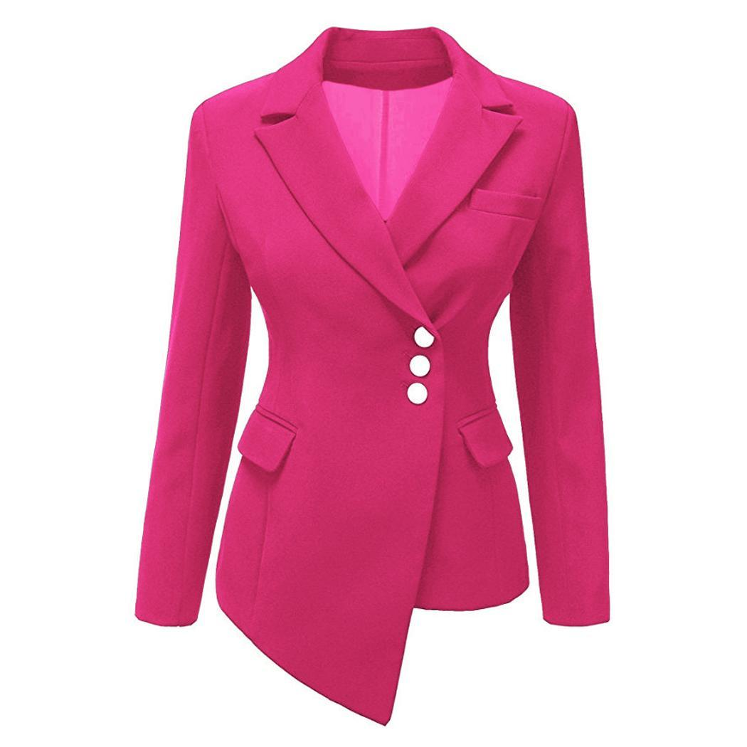 Women Fashion Long Sleeve Single-breasted Asymmetry Casual, Office, etc Solid Slim Blazer Autumn, Spring(China)