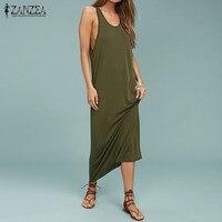 Tops Blusas 2017 ZANZEA Women Summer Backless Sleeveless Long Dress Casual O Neck Party Beach Vestido