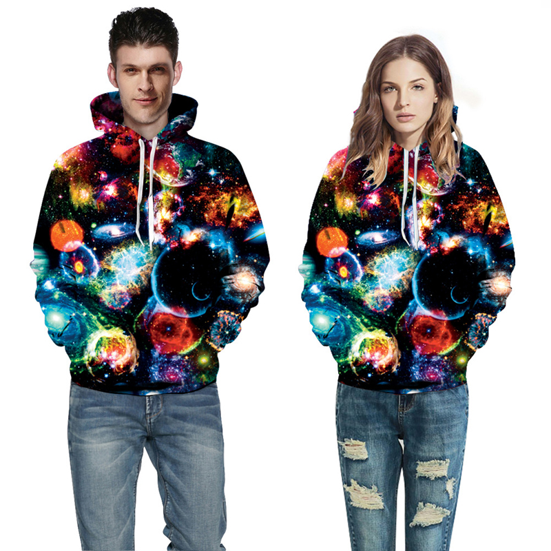 Harajuku Hooded Shirts Enjoy Universe Print 3D Hoodie Women Men Punk Sweatshirts Outfits Casual Sweats QL-025