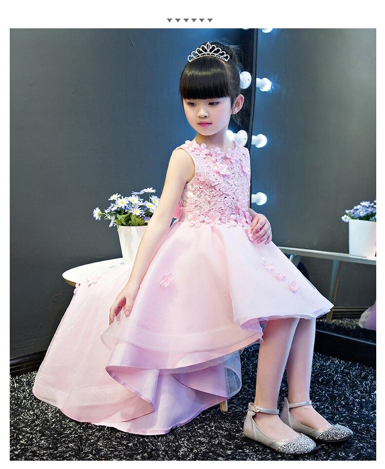 KICCOLY élégant traînant fille rose dentelle robe Appliques première Communion robe bébé fille formelle robes de mariée fleur fille robe