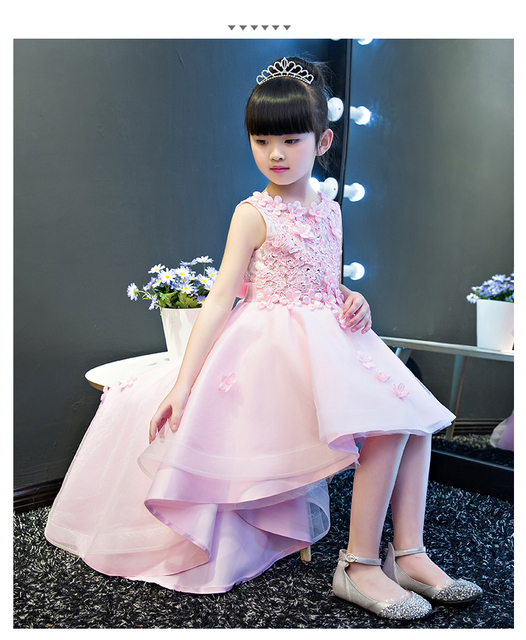 KICCOLY Elegant Trailing Girl Pink Lace Dress Appliques First Communion Dress  Baby Girl Formal Wedding Dresses Flower Girl Gown 34d9e50b4413