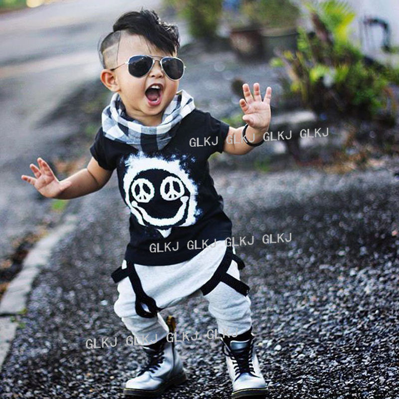 Learned Kids Baby Boys Floral Beach Outfits 2pcs Black T-shirt Tops Pineapple Shorts Pants Summer Clothes Set Cotton Short Sleeve Handsome Appearance Mother & Kids Clothing Sets