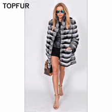 TOPFUR Fashion New Natural Real Fur Coat Women With Collar Top Quality Winter Rex Rabbit Luxury