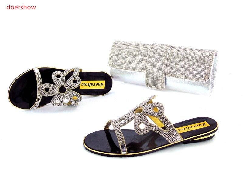 купить doershowShoes and Bag High Quality Matching Italian Shoes and Bag Set with Rhinestone Nigerian Shoe and  Set for Women !HZO1-13 недорого