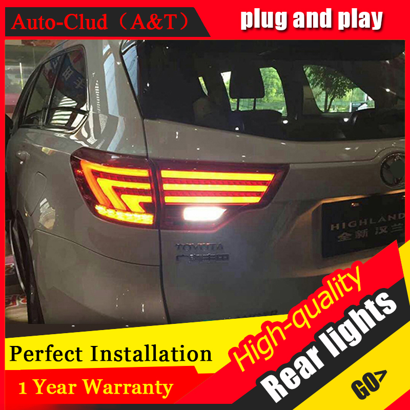 Car Styling for New Highlander Taillights 2014-2015 Kluger LED Tail Lamp Lexus Type Rear Lamp DRL+Brake+Park+Signal led lights