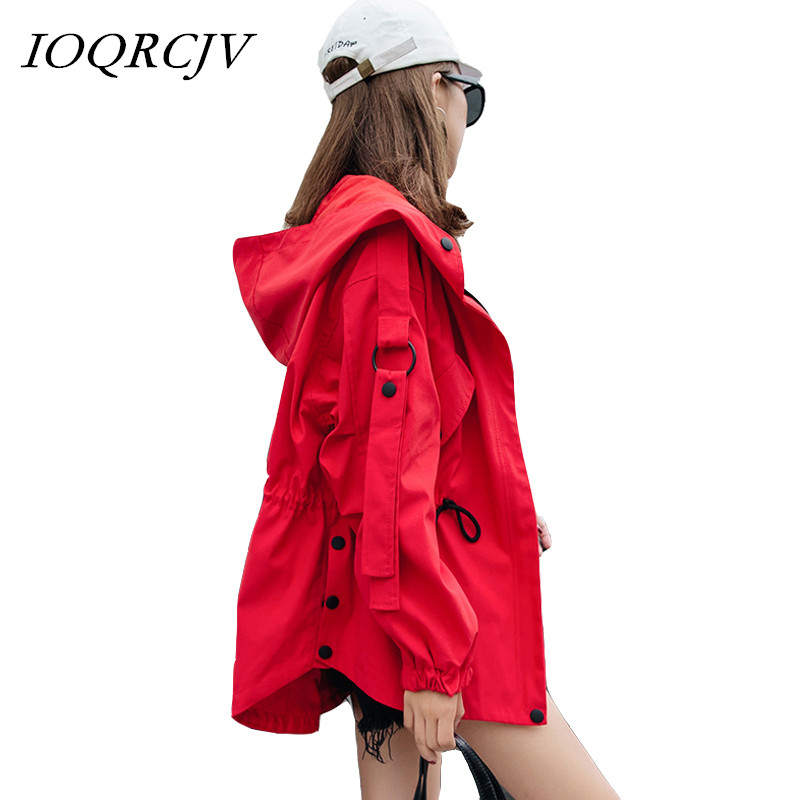 Women's   Trench   Coat Hoodie Zipper Elastic Pockets Button Solid BF Style Fashion Coat Mid-length Oversized Windbreaker Outwear