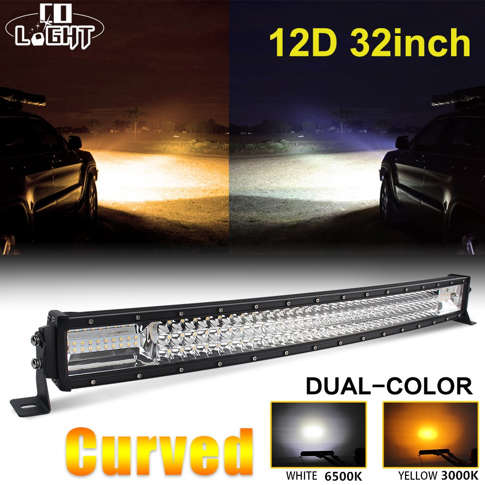 CO LIGHT 12D LED Bar Curved 405W Light bar 32LED Strobe Work Combo Auto Lamp for ATV Jeep Truck Offroad