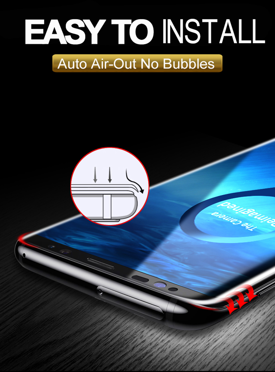 Hstrade 4d Curved Full Cover Tempered Glass For Samsung Galaxy S8 Premium Half Glue Uv Nano Liquid Light Plus S9 S 7 Edge Screen Protector Film Note 8 Glas