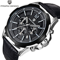 2016 New Arrival Moda couro PAGANI PROJETO Chronograph Esporte mens relógios top marca de luxo Relógios de Quartzo Relogio masculino