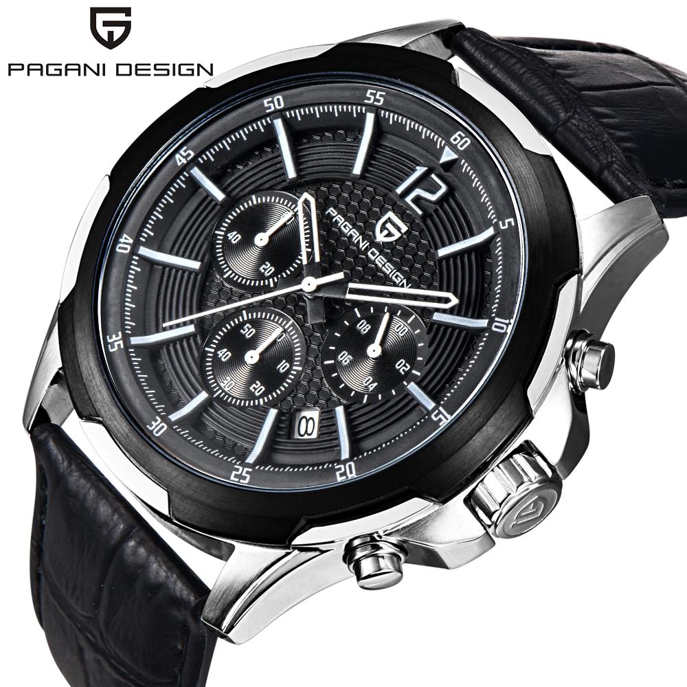 Prix pour 2016 Nouvelle Arrivée De Mode Chronographe Sport mens montres haut marque de luxe PAGANI CONCEPTION en cuir Quartz Montres Relogio Masculino