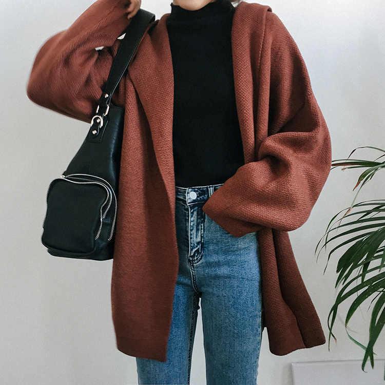 Женские вязаные свитера с капюшоном, 3 цвета, осенне-зимние Однотонные кардиганы свободного кроя