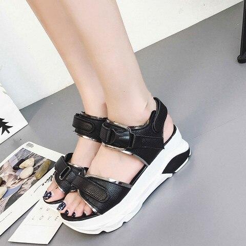 Buckle Leather Sandals Women Spring Summer Thick Bottom Shoes Fashion Casual High Platform Sandals Med Heel Wedges Walk Shoes Multan