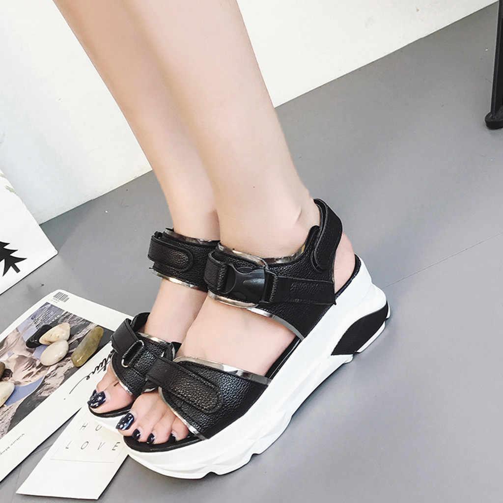 Nam Da Giày Sandal Nữ Xuân Hè Đáy Dày Cho Nam Cao Nền Giày Sandal Med Gót Đế Xuồng Đi Bộ Giày