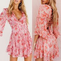 V Neck Sexy Backless Long Sleeve Floral Print Mini Dress For Women Fashion Loose Casual Dress Pink Red Women Dress Wholesale