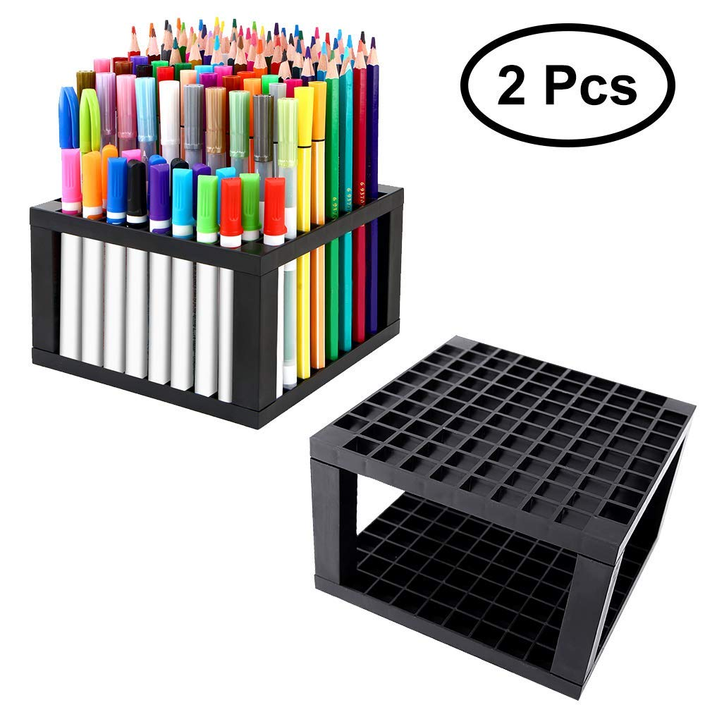 Plastic Pencil Holder, Paint Brushes 96 Holes Holder Desk Stand Organizer for Pencils Markers and Pens, 2 Pack bamboo pattern wooden small gadgets pencils rulers pens holder