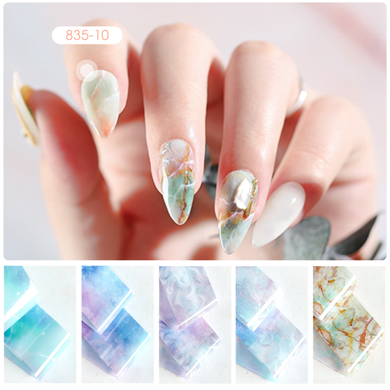 Image 2 - HNUIX 10 colours Nail art star transfer paper hot sale Rainbow sky Japanese style nail foil sticker nail polish adhesive sticker-in Stickers & Decals from Beauty & Health