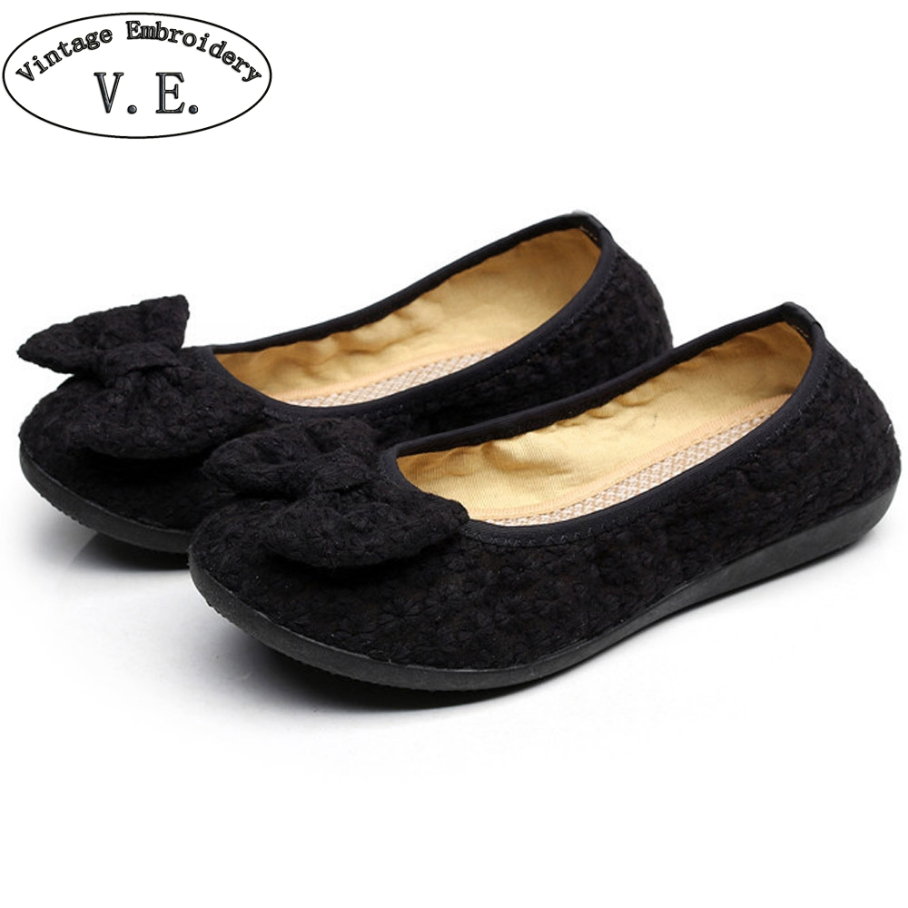 Women Black Flats Shoes Old Beijing Bow Cloth Bowtie Loafers Casual Soft Ballerina Shoes For Woman Moccasins Female Footwear vintage women flats old beijing mary jane casual flower embroidered cloth soft canvas dance ballet shoes woman zapatos de mujer