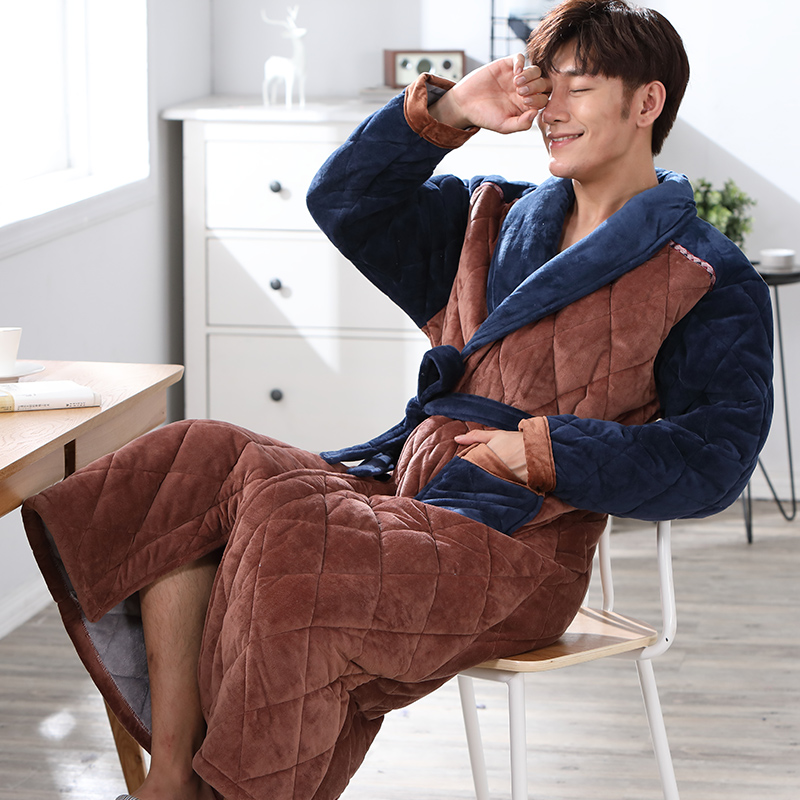 New Arrival Winter Thick Warm Mens Flannel Robe Long Sleeve Turn-down Collar Comfortable Soft Solid Causal Male Bathrobe L-XXXL