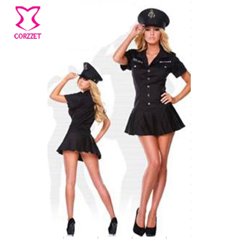 Hot Halloween Apparel Women Black Officer Sexy Costume Police Cop Uniform Fancy Dress Adult Sex Cosplay Costumes Fantasia Adulto
