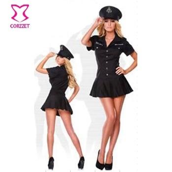 05a23cfab8aa Ropa de Halloween caliente mujeres negro oficial Sexy disfraz policía  uniforme vestido de lujo Adulto sexo