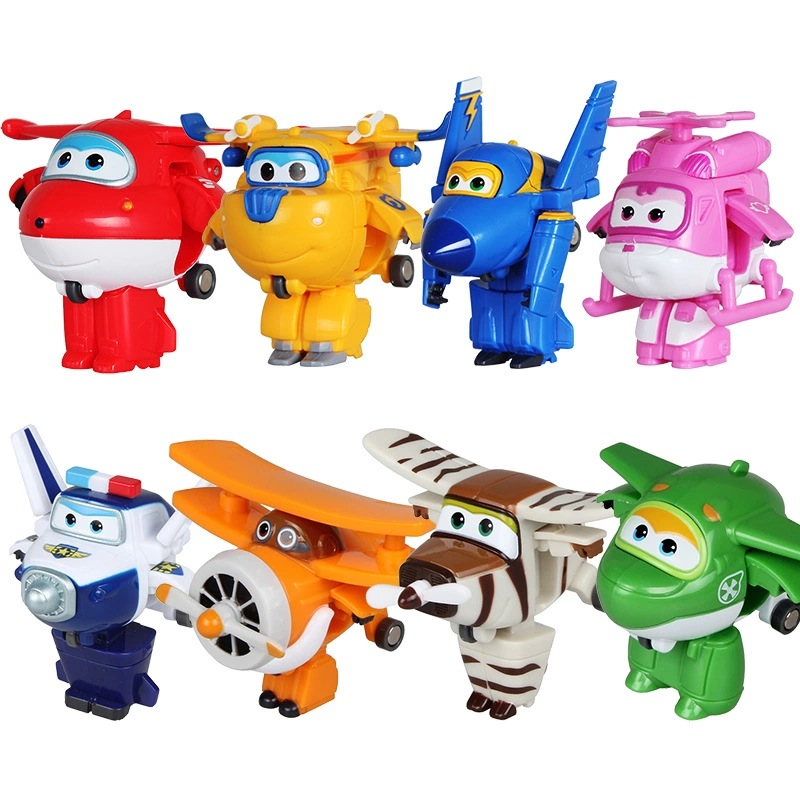 8PCS/Set ABS Robot toys Super Wings Mini Airplane Action Figures Super Wing Transformation Jet Animation Children Kids Gift with package 6 pcs set transformation robot cars and bruticus toys action figures block toys for kids birthday gifts