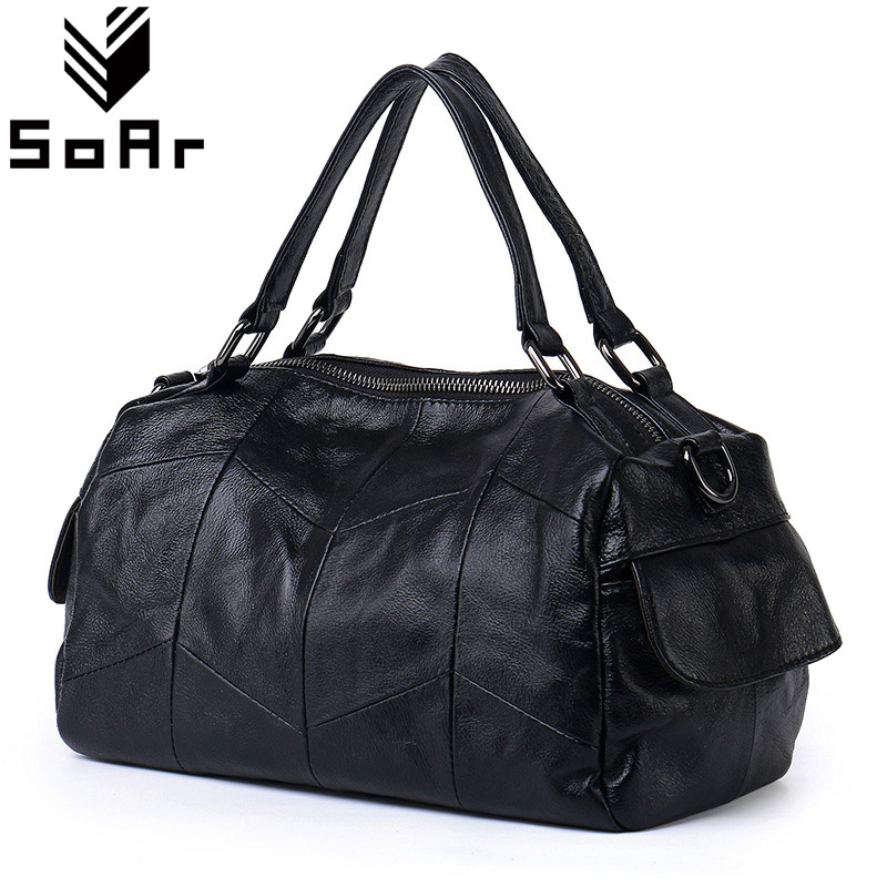 SoAr Luxury Brands Women Handbag Genuine Leather Ladies Tote Shoulder Messenger Bags Bolsas Femininas New Style Female Handbags punk rivet handbags women bags designer brands shoulder bags chain messenger bag clothes shape black tote bolsas femininas a0337