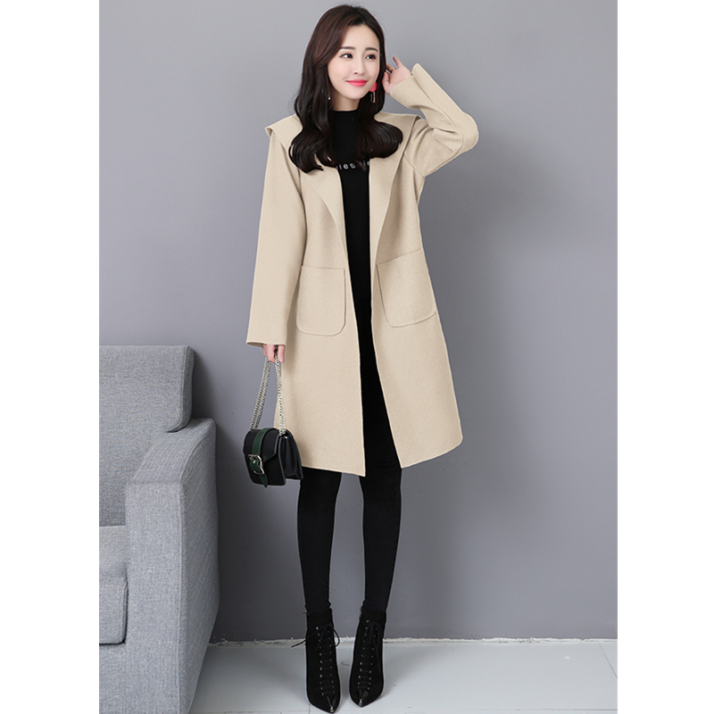 black Laine Mélange Ceinture De 2018 Plus Manteau Élégant Apricot brown Tendance  Long Veste Taille À ... 50a14f417d37