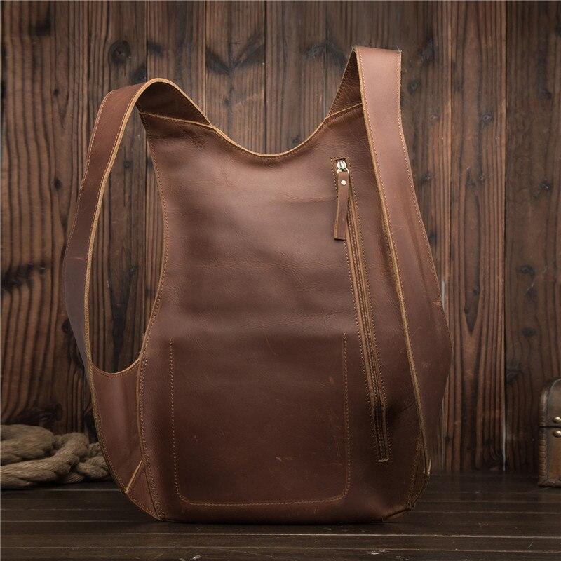 Sac à dos en cuir véritable pour hommes Mini sac à dos pour femmes d'affaires Messenger rétro sac fourre-tout décontracté sac à bandoulière sac de voyage pour hommes sac à main en cuir de vachette - 5