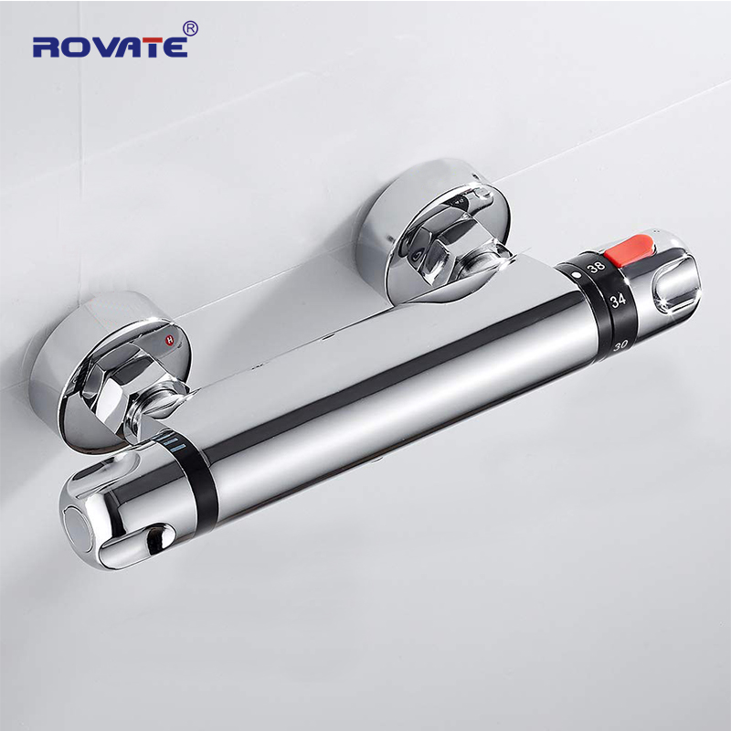 ROVATE Bathroom Thermostatic Faucet Wall Mounted Mixer Constant Temperature Control Valve Tap for Bathtub