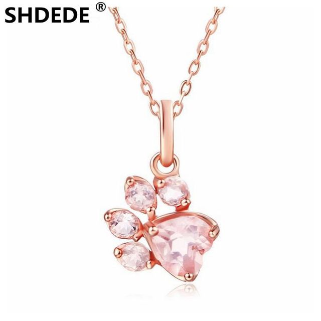 Shdede 925 Sterling Silver Necklace Natural Stone Natural Pink