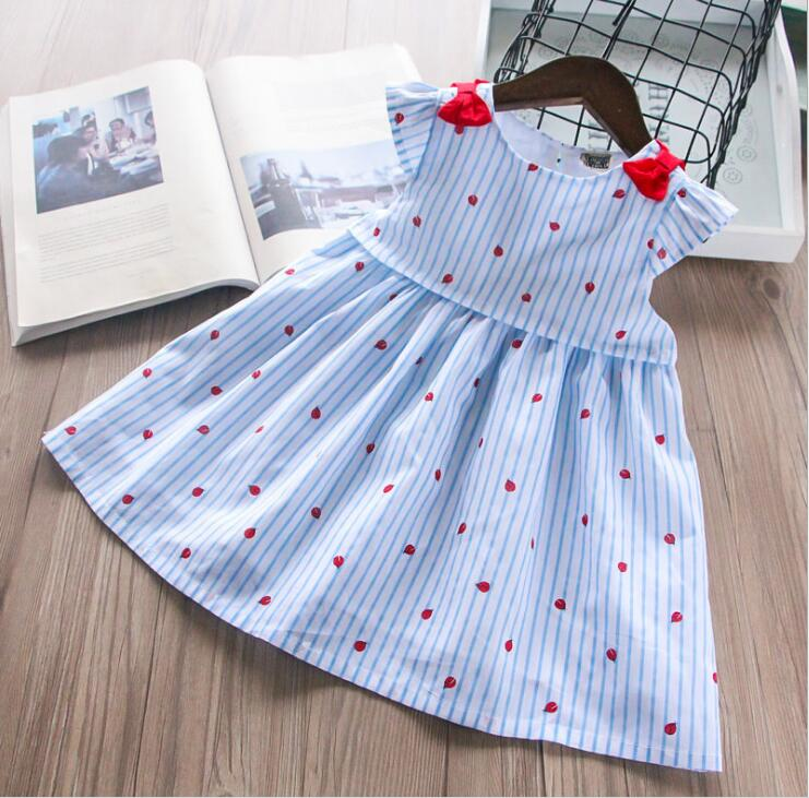 Kids dress Baby girl Striped Bow Kids Clothing Princess Dress Children Printed Sleeveless Vest Dress baby clothes