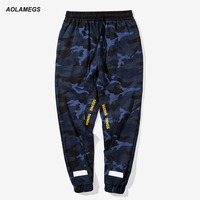 Aolamegs Men Camo Pants Fashion High Street Camouflage Letter Printed Sweatpants Military Casual Style Tide Male