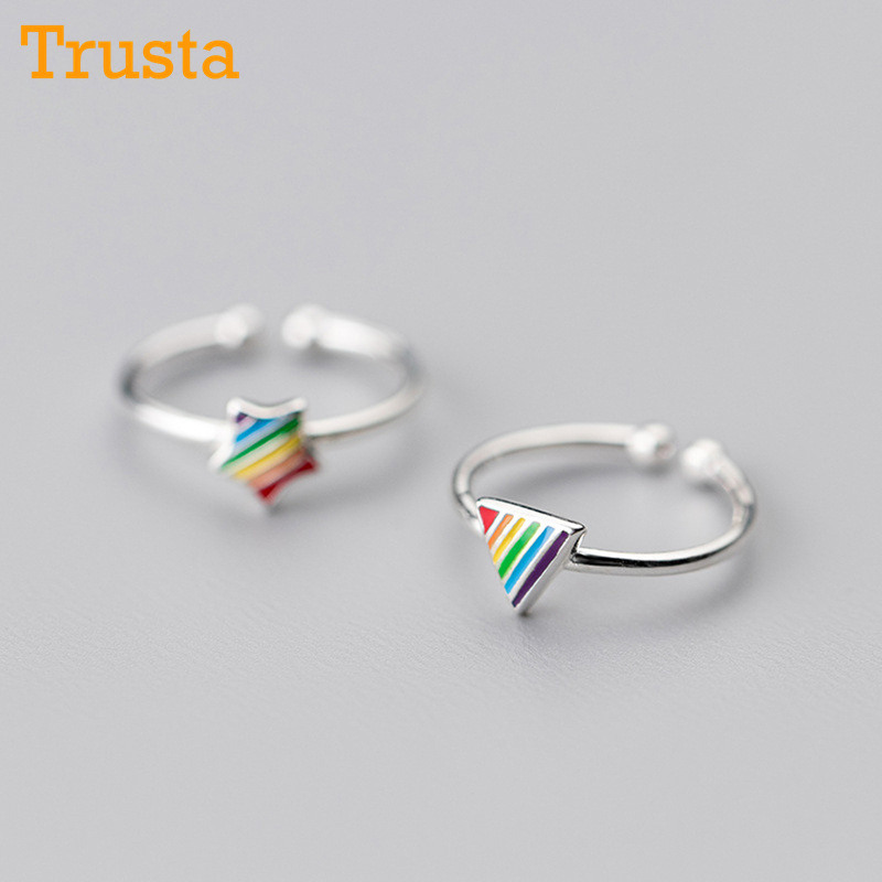Trusta 100% 925 Sterling Silver Fashion Jewelry Rainbow Triangle Star Cocktail Ring Sizable 5 6 7 Girls Kids Xmas Gift DS385 mariposa en plata anillo
