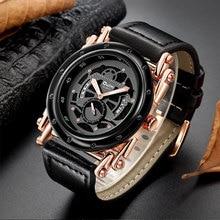Oulm Relojes de pulsera de cuero para hombre, reloj masculino de cuarzo con calendario informal, diseño único