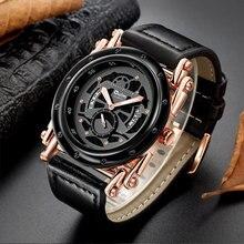Oulm montre bracelet en cuir pour hommes, Design Unique, avec calendrier, horloge à Quartz, Design Unique, luxe, nouveau Style, décontracté