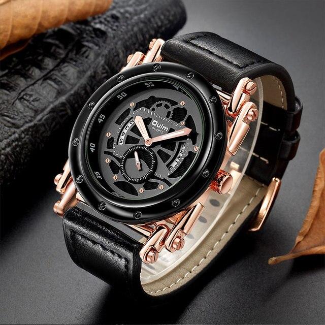 Oulm w nowym stylu zegarki mężczyźni zwykły kalendarz zegar kwarcowy mężczyzna unikalna konstrukcja luksusowe męskie skórzane zegarki relogio masculino