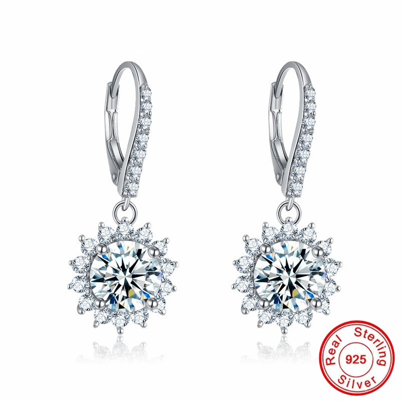 Sona NOT FAKE Fine Jewelry Earrings S925 Sterling silver diamond Luxury Earrings Women custom jewelrySona NOT FAKE Fine Jewelry Earrings S925 Sterling silver diamond Luxury Earrings Women custom jewelry