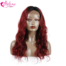#1b/99J Body Red Short Bob Lace Front Human Hair Wigs For Women 150% Brazilian Burgundy Ombre Remy Pre Plucked Baby Hair StyleMe
