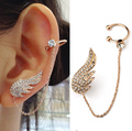 Fashion sexy cuff earrings,micro pave clear CZ stone angel wings stud earrings for women (E125635)