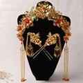 Старинные Китайский Стиль Свадебные Ювелирные Наборы Позолоченный Свадебные Прически Аксессуары Нефрита Золотой Феникс Корона Шпильки Шаг Трясти