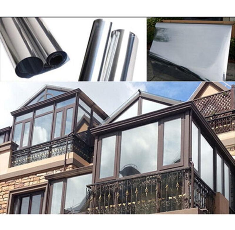 VLT20 % Film de teinte solaire à réduction de chaleur 70 cm x 1000 cm Film de teinte de fenêtre en argent Film de teinte à sens unique Film de fenêtre en miroir - 2
