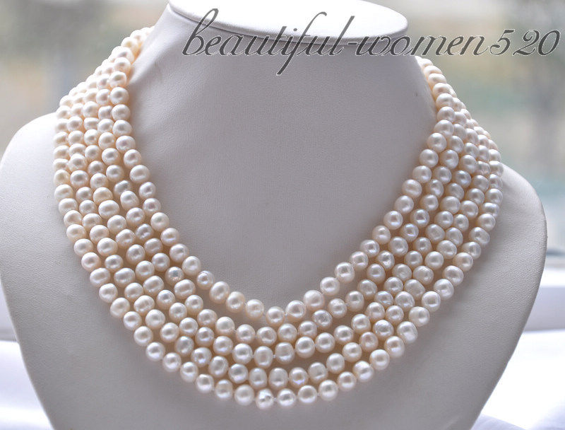 Z4764 5strands 7mm white round PEARL NECKLACE magnet claspZ4764 5strands 7mm white round PEARL NECKLACE magnet clasp